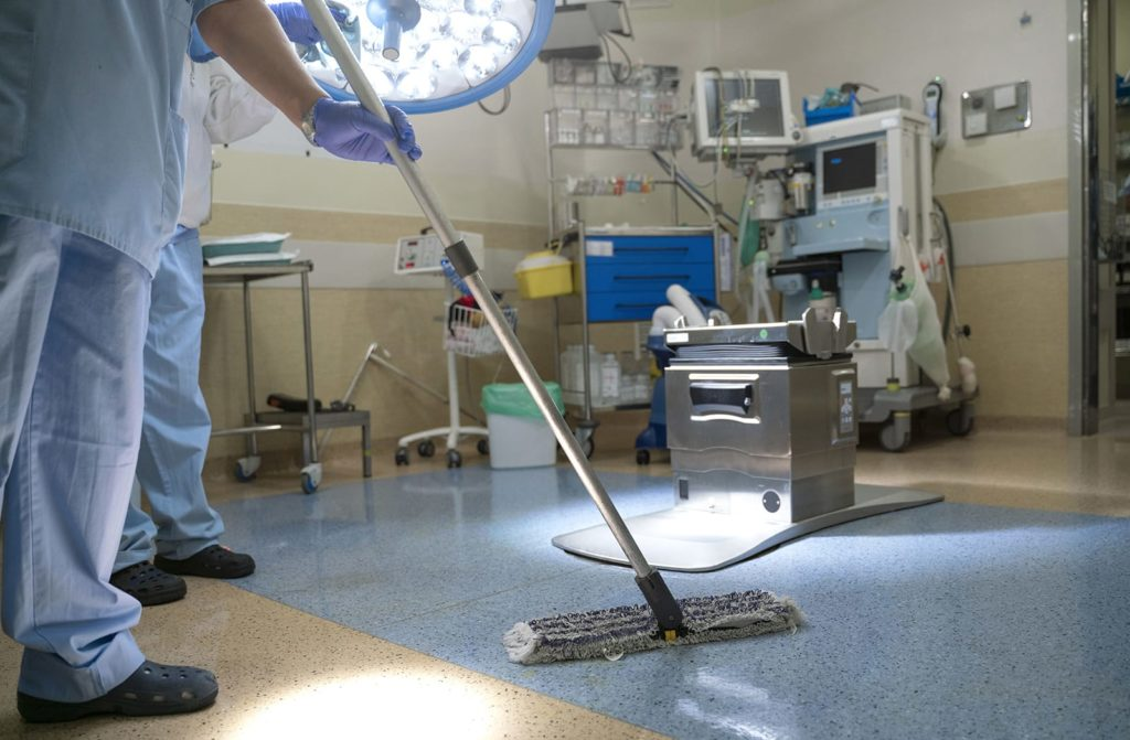 Health care cleaning in an emergency room