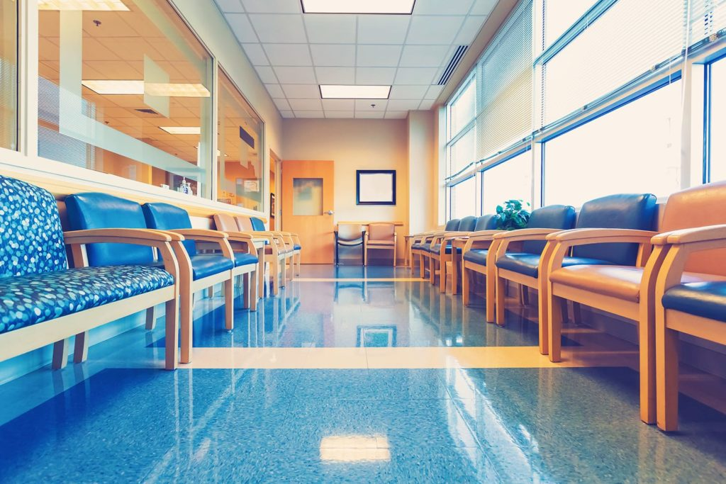 A hospital waiting room, spotless. Improving the patient experience comes down to cleanliness.