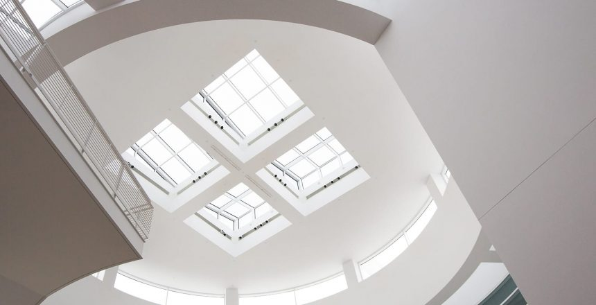 Window cleaning is a huge factor in first impressions. The atrium to a hospital with skylights.